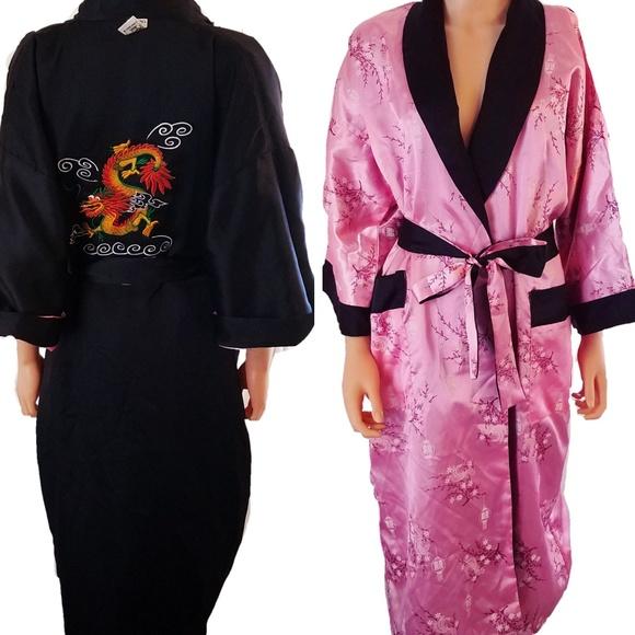 Intimates Sleepwear Silk Chinese Reversible Robe Dragon Flower